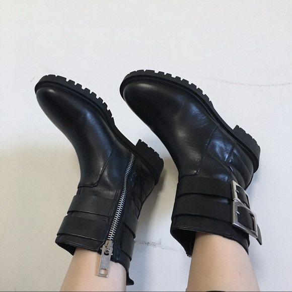 Zara Shoes   Zara Flat Leather Biker